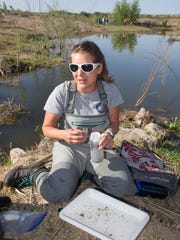 NMSU student Lauren Kramer discuses her invertebrate findings Saturday morning at the La Mancha Wetlands. 4/15/17