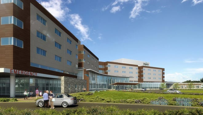 This is an outdated drawing that shows a previous rendering for the future Inspira Medical Center Mullica Hill, which will be built on Route 322, near Route 55 in Harrison Township. The hospital has since been redesigned.