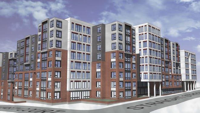An architectural rendering of The Collegiate, a student housing development planned near the University of Cincinnati.