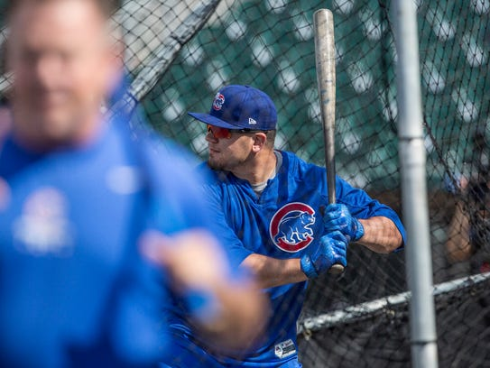 Outfielder Kyle Schwarber works out during the I-Cubs