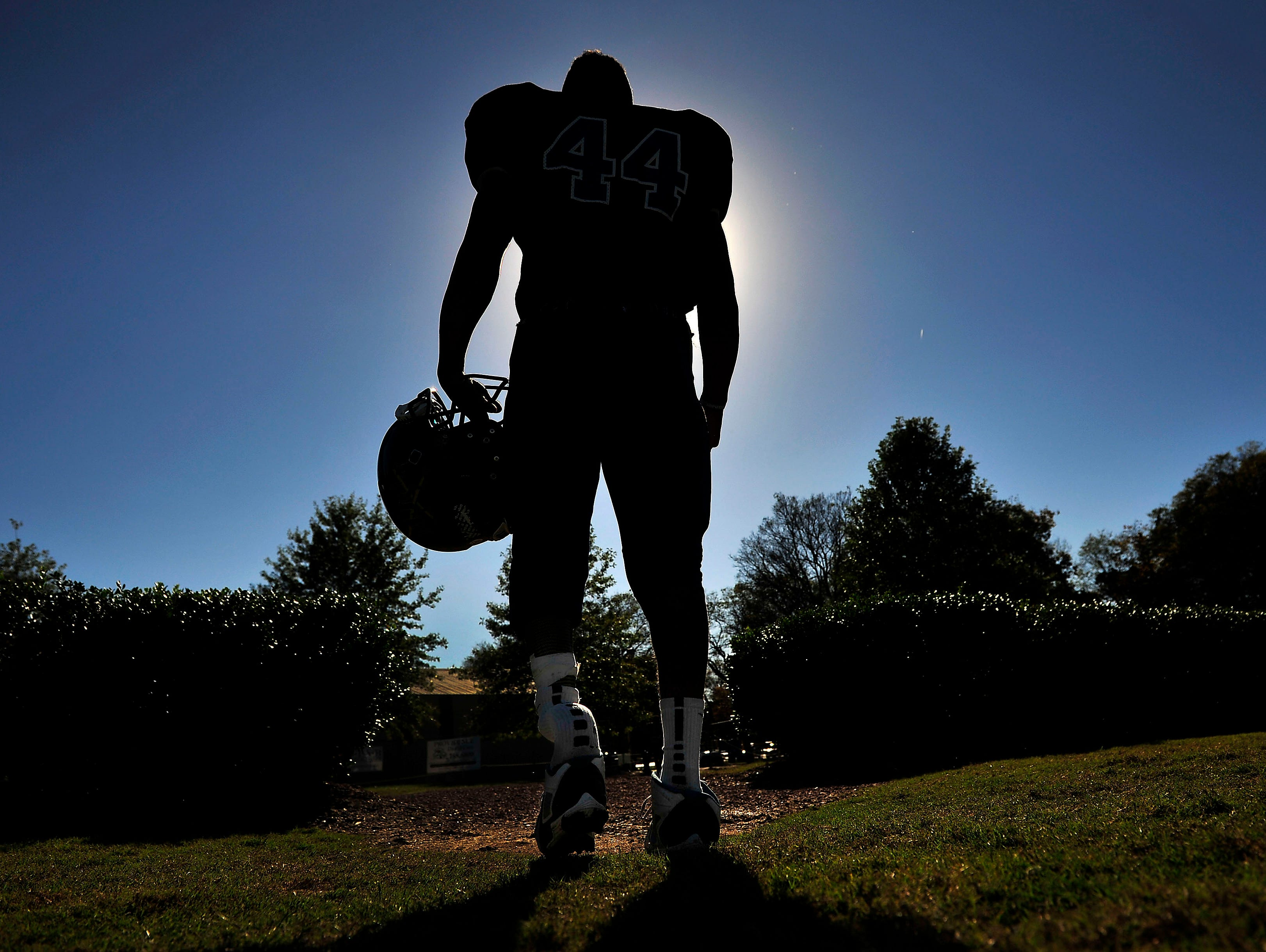 Mt. Juliet Christian Academy's Andrew Kittrell walks to the practice field.