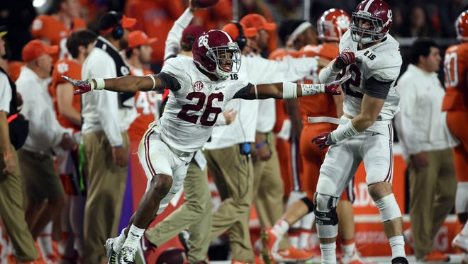 Alabama Crimson Tide defensive back Marlon Humphrey (26) celebrates after recovering an onside kick against the Clemson Tigers in the 2016 CFP National Championship at University of Phoenix Stadium. Mandatory Credit: Joe Camporeale-USA TODAY Sports
