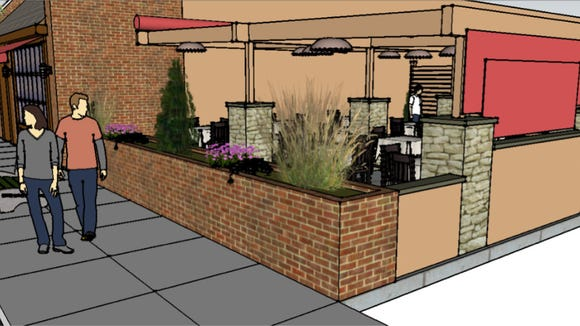 The new space will include stone columns, brick walls, plantings and fabrics.