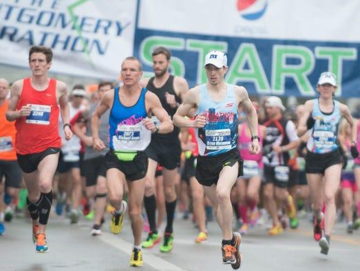 Bryan Morseman runs in the Montgomery Marathon on Saturday,