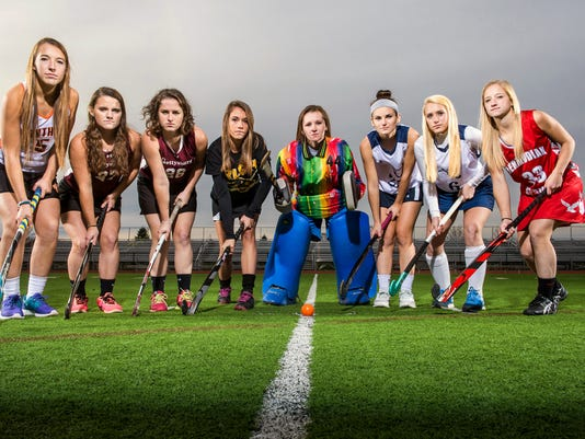 GameTimePA.com's YAIAA field hockey all-stars are, from left: Central York's Paige Harrold, Gettysburg's Sydney's Tomassini, Gettysburg's Maggie Fees, Red Lion's Paige Taylor, South Western's Hannah Glover, Dallastown's Bryna Cook, Dallastown's Maggie Noll and Bermudian Springs' Mackenzie Farley. Not pictured are Central York's Greta Plappert and Alexis Young, and Dallastown's Haylee Anders.