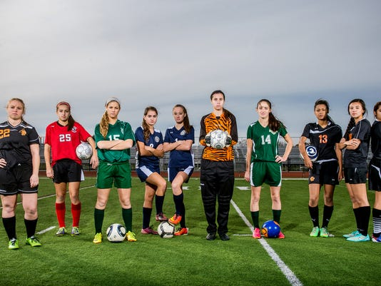 From left to right: York Suburban's Jordan Shoff, Dover's Brooke Firestone, York Catholic's Elizabeth Johnson, Dallastown's Sierra Austin, Dallastown's Paige Hartman, Northeastern's Brenna Schroter, Fairfield's Hannah Logue, Central York's Sheayna Pamplin, Central York's Kennedy Little and Central York's Bri Hackos.  Not pictured: Susquehannock's Brooke McGee and South Western's Lauren Gough.  GameTimePA's all-star girls soccer players. Picture taken Saturday, Nov. 8, 2014, at Central York. Chris Dunn Ñ Daily Record/Sunday News