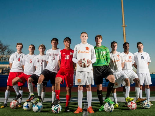 From left to right: Susquehannock's Alex Rebich, Susquehannock's Clay Ayres, Gettysburg's Adam Yingling, Gettysburg's Bobby Weikert, Bermudian Springs' Johnny King, Central York's Calvin Luckenbaugh, West York's Darian McCauley, Central York's Anthony Trona, Central York's Igor Gomes and Dallastown's John Schmitt.  Not pictured: Hanover's Jose Aguilar.  GameTimePA's all-star boys soccer players. Picture taken Wednesday, Nov. 12, 2014, at Spring Grove. Chris Dunn Ñ Daily Record/Sunday News