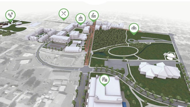 Greenwood Mayor Mark Myers unveiled a $30-million plan to transform the city's sleepy downtown into an urban oasis that features new shops, restaurants, parks and apartments.