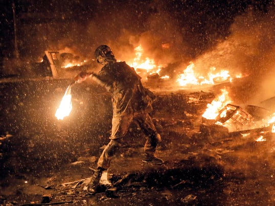 What began as peaceful anti-government protests three months ago    Ukraine Protest 2014