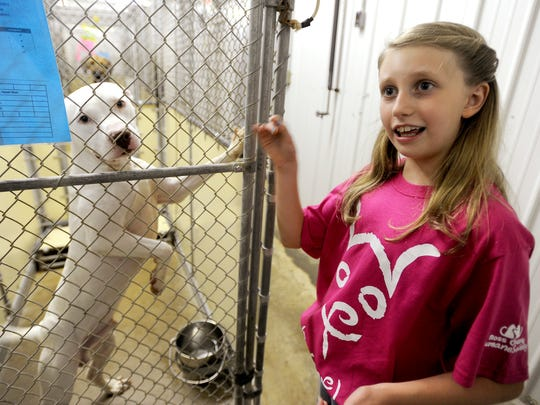 Allison Lutz, 10, walks through the kennel where dogs waiting to be adopted are kept at the Ross County Humane Society on Wednesday. Allison was asking for donations to the shelter in lieu of birthday gifts for her 10th birthday this year.