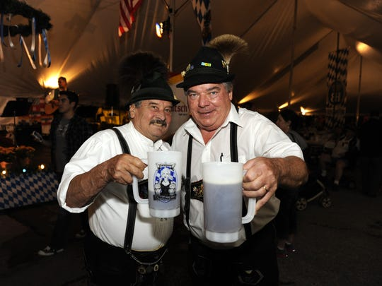 Erwin Dobler of Bright, Ind. and Mick Noll of Covington at Newport Oktoberfest.