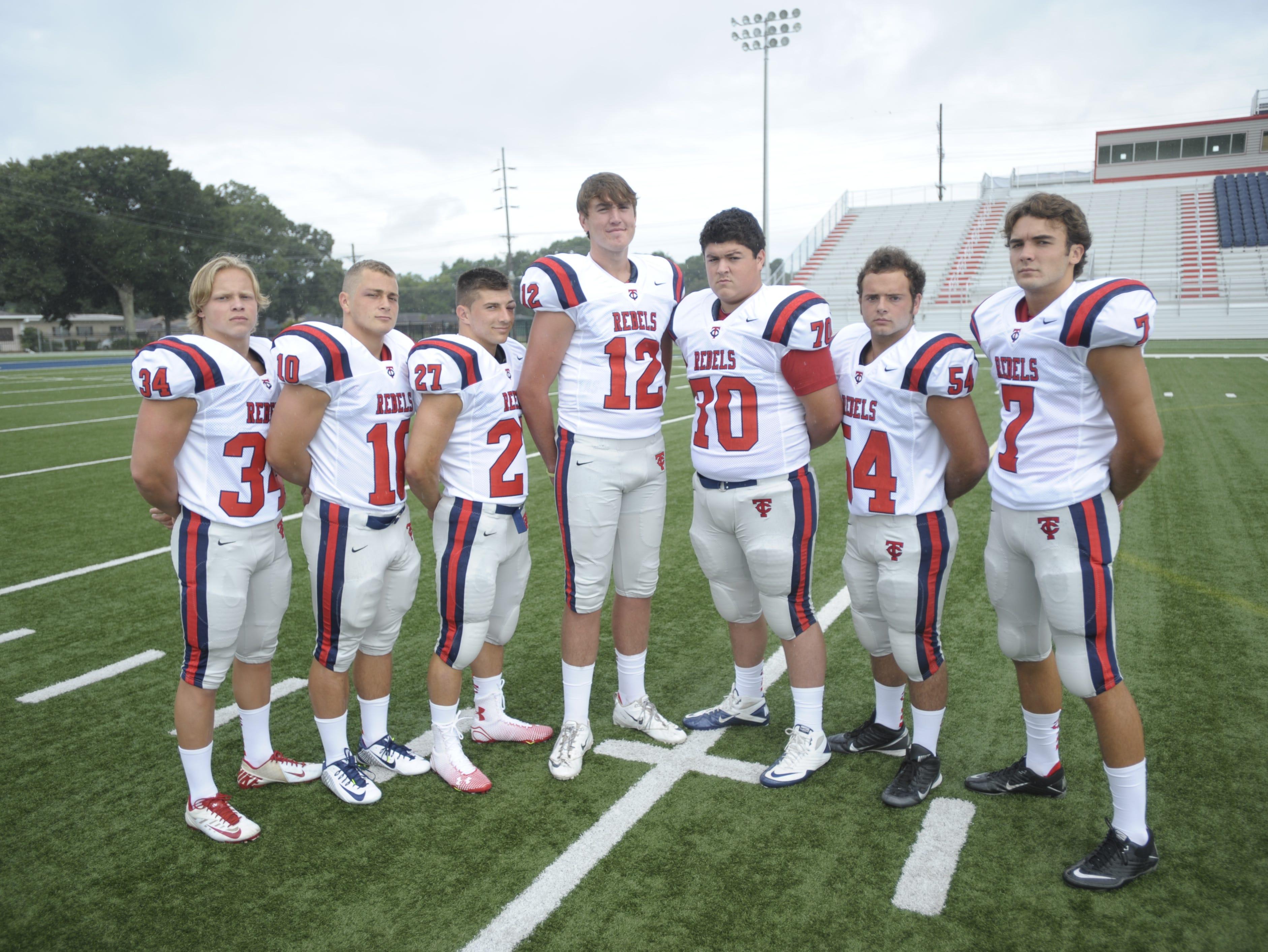 Teurlings Catholic's offensive leaders include Baylor Thompson (34), Jacob Landry (10), Noah Harris (27), Cole Kelley (12), Brilan Degeyter (70), Zachary Ashy (54) and Nate Arceneaux (7).