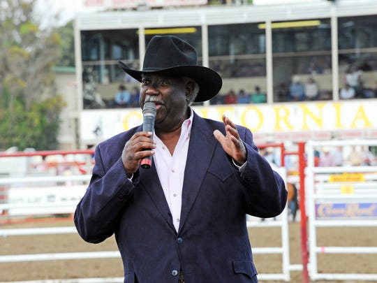 """Pat DuVal, known as """"The Singing Sheriff,"""" performs   at Thursday     at the 2014 California Rodeo Salinas."""
