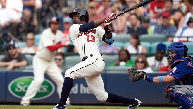 Braves pinch hitter Pedro Ciriaco drives in the games only run with a single against the Mets during the seventh inning at Turner Field.