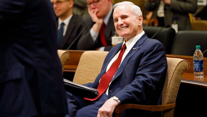 """FILE - In this Jan. 24, 2017, file photo, Minnesota Gov. Mark Dayton smiles as he waits to brief the media on his state budget in St. Paul, Minn. Dayton, who collapsed Monday evening while delivering his State of the State address, announced at the briefing that he has prostate cancer. Mayo Clinic spokesman Karl Oestreich said Thursday, Feb. 2, 2017, that Dayton's cancer hasn't spread beyond his prostate and is curable. He says Dayton should be able to continue serving as governor """"without significant interruption."""" (AP Photo/Jim Mone, File)"""