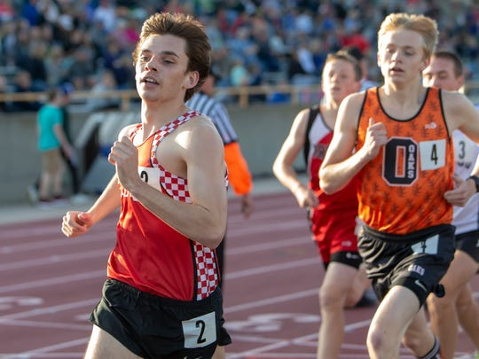 Lourdes Academy's Jackson Moore runs in the 1600-meter