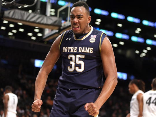 Notre Dame Fighting Irish forward Bonzie Colson (35) reacts against the Colorado Buffaloes during the first half of the first game of the Legends Classic at Barclays Center.