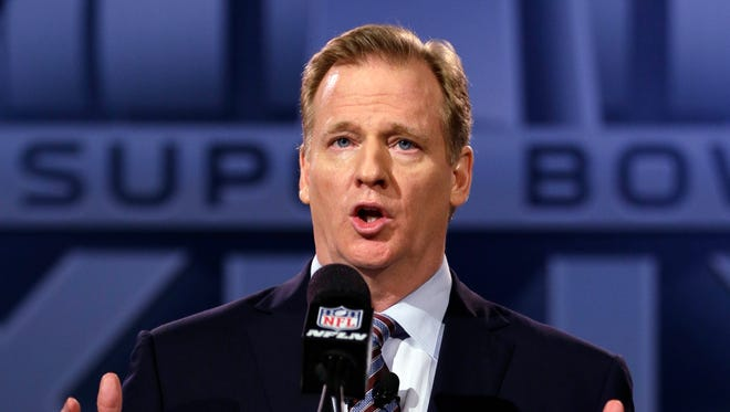 In this Jan. 30, 2015, file photo, NFL Commissioner Roger Goodell participates in a news conference for the NFL Super Bowl XLIX.