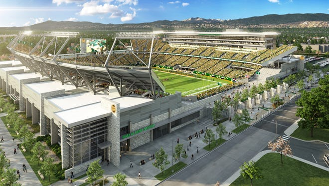 An artist's rendering of the new on-campus stadium under construction at CSU. The $220 million facility is scheduled to open for the 2017 football season.