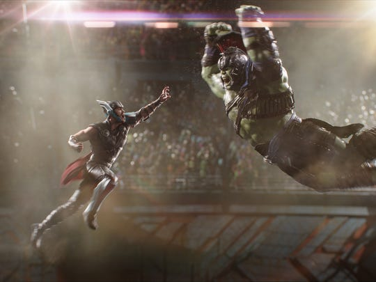 "Thor (Chris Hemsworth) and Hulk (Mark Ruffalo) fight in ""Thor: Ragnarok."""