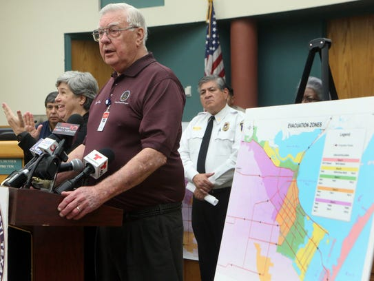 Nueces County Judge Loyd Neal gives an update with