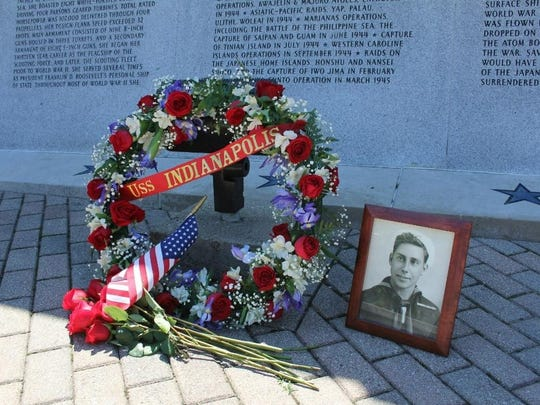 Relatives placed a wreath at the USS Indianapolis Memorial