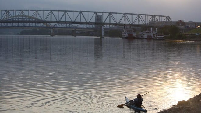 Donna Lugen, East Walnut Hills, spent her morning on the Ohio. Paddlefest is happening on Sunday morning.