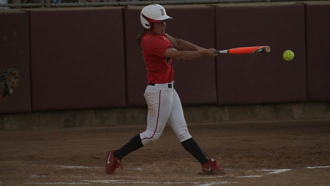 Dixie State competes against Valdosta State in the 2014 Division II College Softball World Series on Friday.
