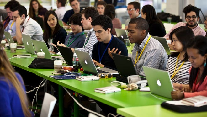 Google interns attend orientation at headquarters in Mountainview, Calif., last year.
