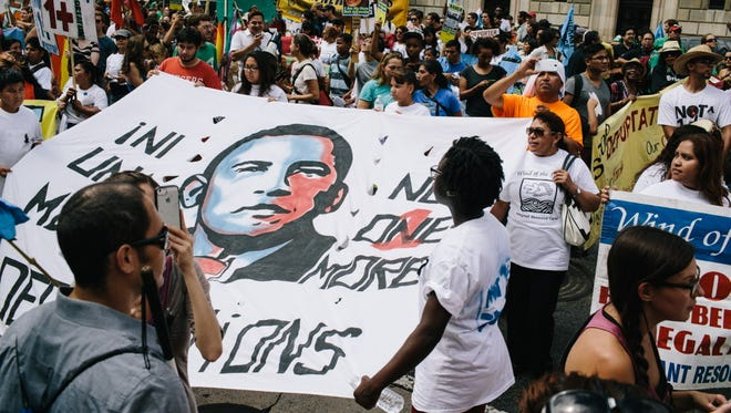Immigration activists march against deportations in Washington, D.C., on Aug. 2.
