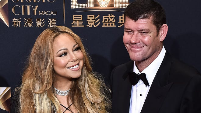 Mariah Carey and boyfriend James Packer on the red carpet for opening of casino resort in Macau, on Oct. 27, 2015.