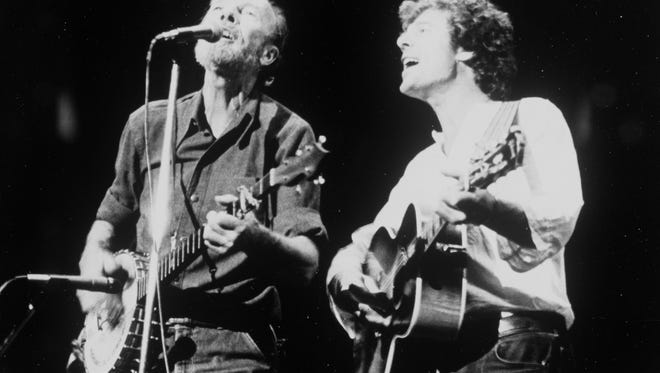 Pete Seeger (left) and Bob Killian in an undated photo.