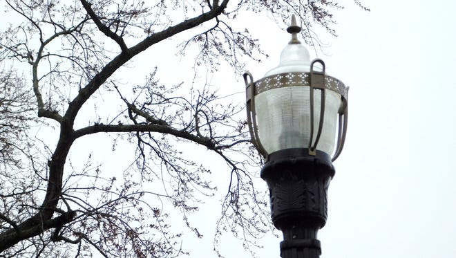 The decorative walkway lamps in Thaddeus Hurd Park look similar to ones the City of Clyde may select to line downtown Main Street as part of a $275,000 spring project.
