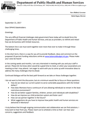 This is the first page of a two-page Sept. 21 letter
