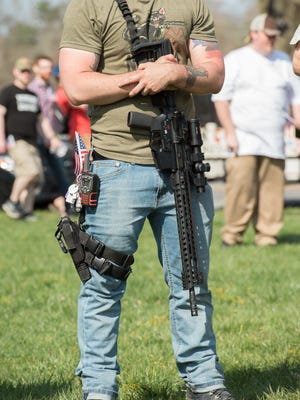 Open carry of a modern sporting rifle deemed an assault rifle at the pro-Second Amendment rally outside Legislative Hall in Dover, held by the Delaware Citizens for the 2nd Amendment and the Delaware 3% United Patriots.