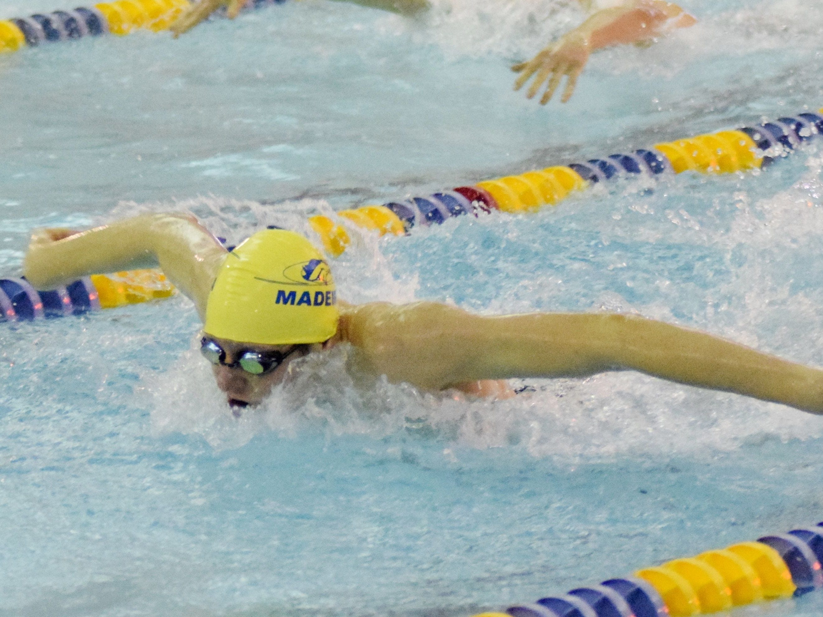 Madeira's Alex Fortman collected a first-place finish for the Mustangs in the second heat of the boys 100 butterfly at the CHL meet Feb. 7.