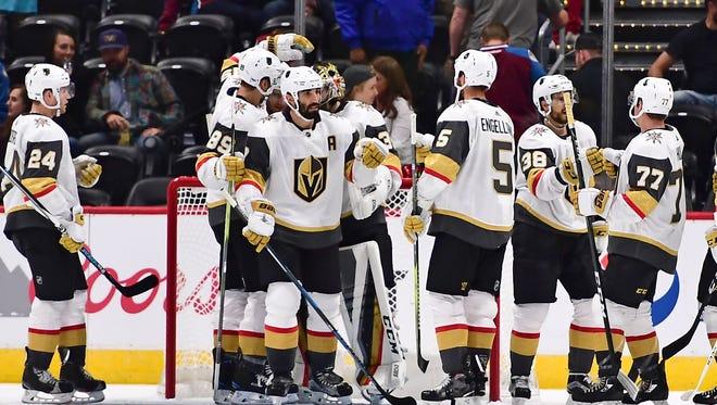 Las Vegas Golden Knights celebrate a preseason win.