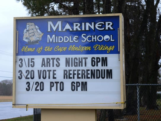 Mariner Middle School in Milton, Del. is a polling