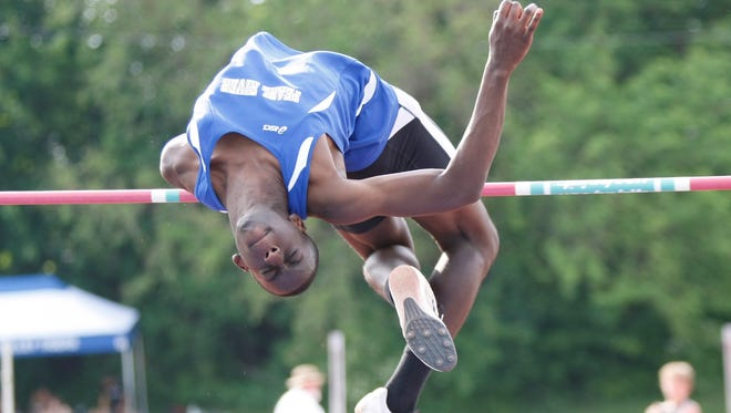 "Pearl River's Luqman Issah clears 6'4"" in the high jump to win the section title during the Section 1 Class B Track & Field Championships at Beacon High School on Thursday, May 26, 2016."