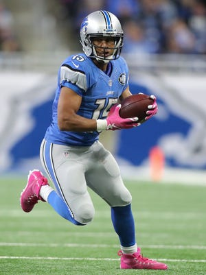 Lions receiver Golden Tate makes a first down catch to set up the winning field goal during the second half against the Philadelphia Eagles on Sunday, Oct. 9, 2016 at Ford Field in Detroit.