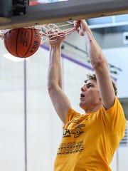 Fort Wayne Blackhawk Christian's Caleb Furst dunks