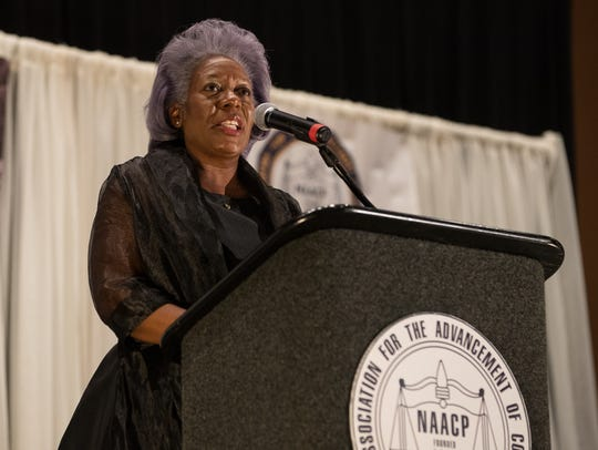 City Manager Margie C. Rose speaks during the NAACP