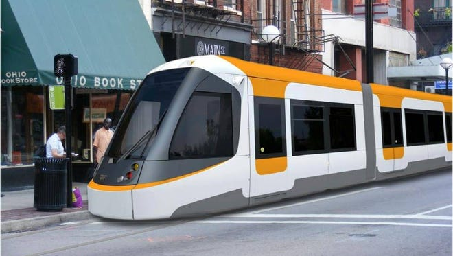 A rendering of the Cincinnati streetcar