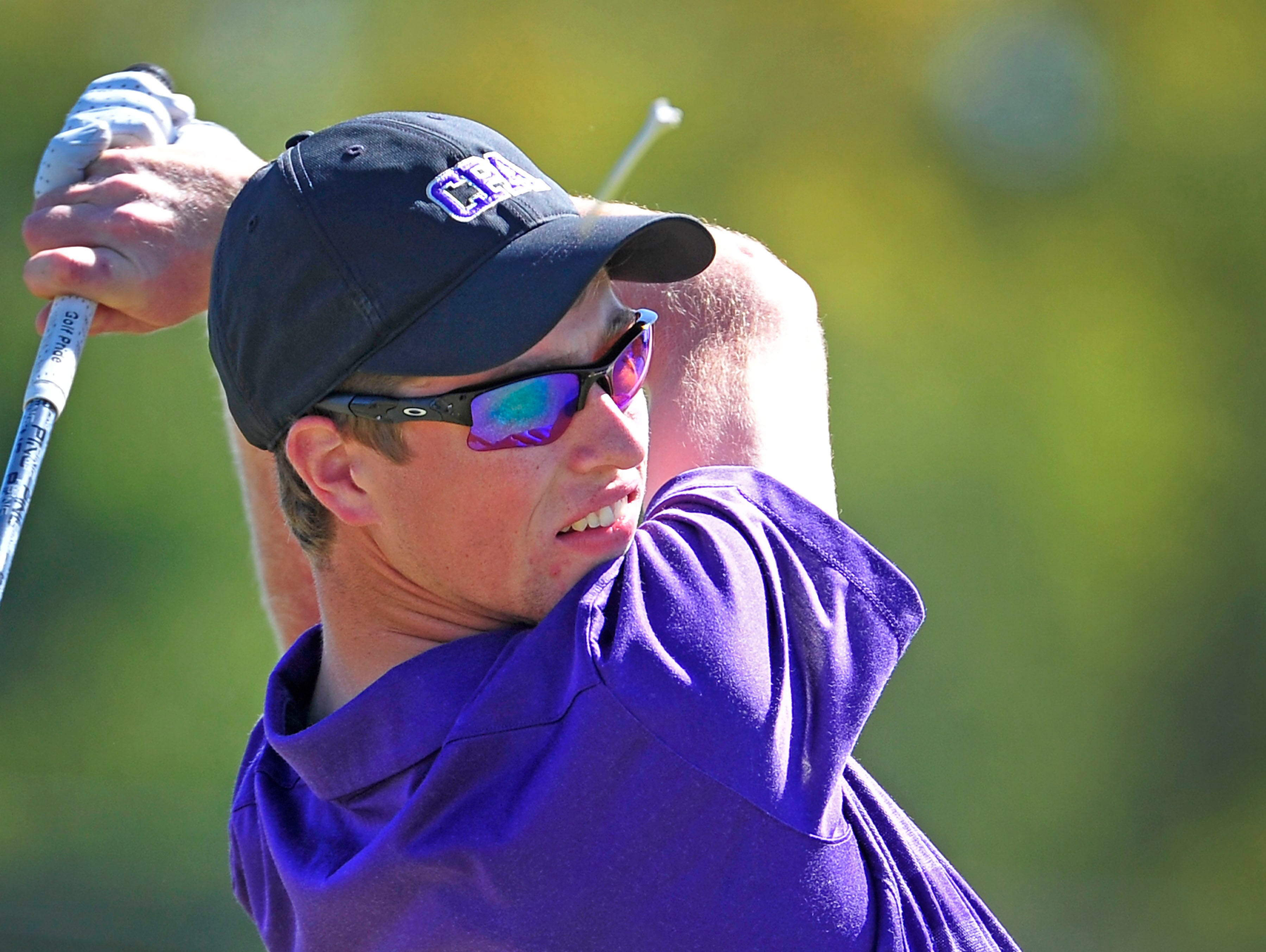 CPA's Grayson Davis watches his tee shot on the seventh hole during the Class A/AA State Golf Tournament at WillowBrook Golf Club in Manchester, Tenn., Wednesday, Oct. 14, 2015.