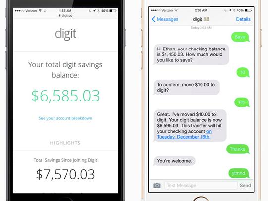 A screenshot of the app Digit.