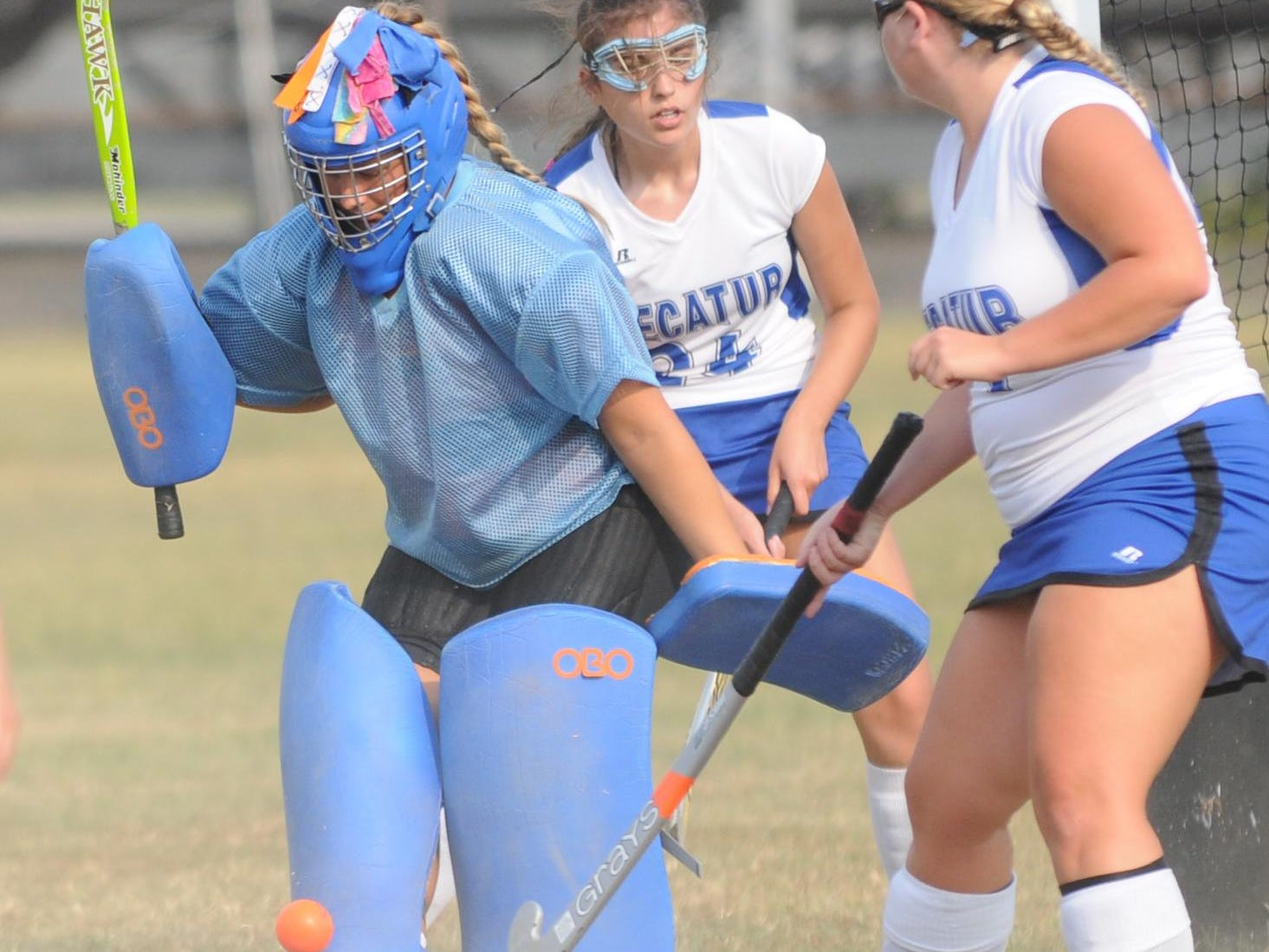 Stephen Decatur goalie Sophia Clemente comes up with a save against Indian River.