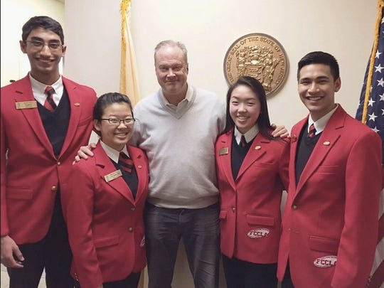 Members of the John P. Stevens Chapter of Family, Career and Community Leaders of America (FCCLA) joined more than 200,000 members across the country in celebrating FCCLA Week from Feb. 8-14. Acitivites included meeting with state politicians. Here, chapter members from the Edison-based school, Rohit Iyer, Michelle Qu, Stephanie Zhang and Connor Shah, are shown with state Senator Peter Barnes.
