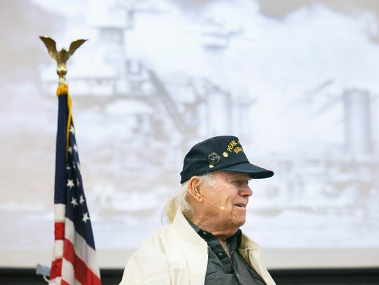 Pearl Harbor survivor Ed Johann speaks at Salem Academy's