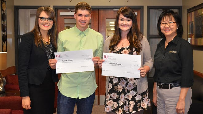 Evangel business instructors Hona Amer, left, and Eveline Lewis, right, created a new entrepreneur course at EU, incorporating the weekly 1 Million Cups program. Junior Patrick McGuire and senior Kaitlyn Palmquist each received $300 Entrepreneurship Awards for their business plans.