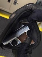 The TSA stopped a Lanoka Harbor man from entering Newark Airport with this loaded handgun.